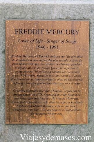 Placa de escultura de Freddie Mercury en Montreux, Suiza